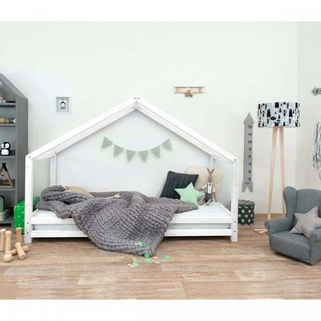 Bílá dětská postel z lakovaného smrkového dřeva Benlemi Sidy, 90 x 180 cm