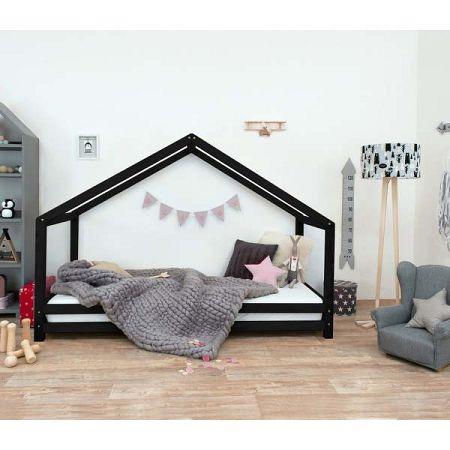 Černá dětská postel z lakovaného smrkového dřeva Benlemi Sidy, 90 x 200 cm