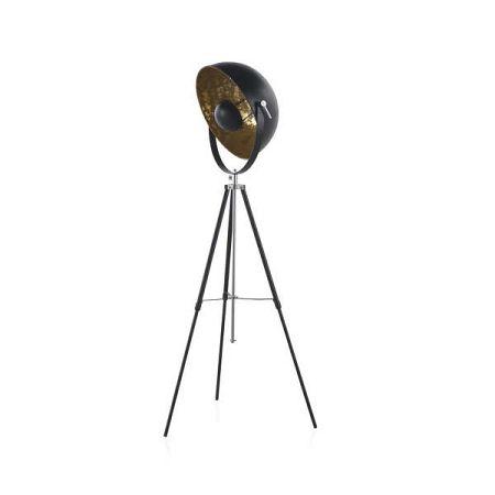 Černá stojací lampa na trojnožce Geese, výška 1,6 m