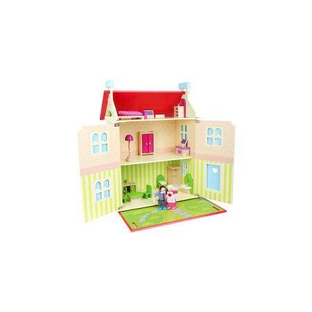 Dřevěný domeček s odnímatelnou střechou pro panenky Legler Doll