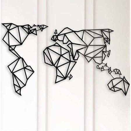 Kovová nástěnná dekorace World Map