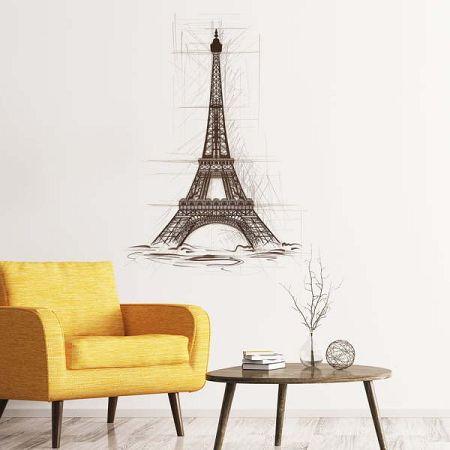 Nástěnná samolepka Ambiance Wall Decal Eiffel Tower Drawing, 55 x 40 cm