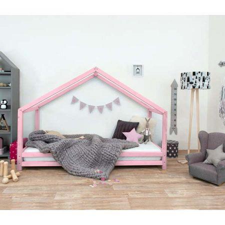 Růžová dětská postel z lakovaného smrkového dřeva Benlemi Sidy, 90 x 160 cm