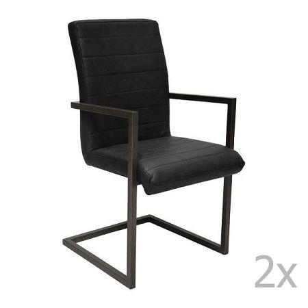 Sada 2 černých jídelních židlí RGE Toscana