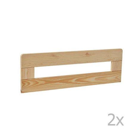 Sada 2 hnědých dřevěných zábran k dětské postýlce Pinio Simple, 200 x 90 cm