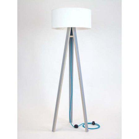 Šedá stojací lampa s bílým stínítkem a tyrkysovým kabelem Ragaba Wanda