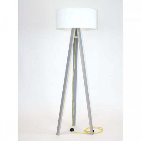 Šedá stojací lampa s bílým stínítkem a žlutým kabelem Ragaba Wanda