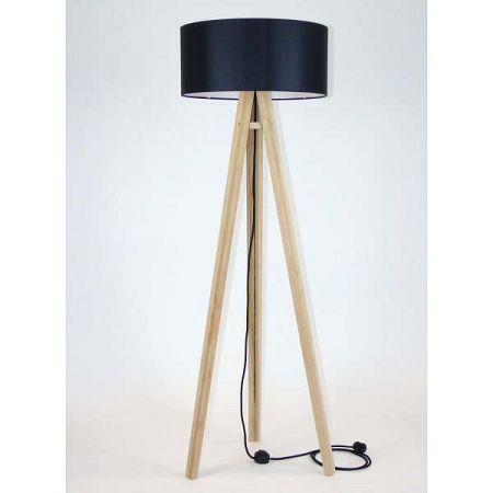 Stojací lampa s černým stínítkem a černým kabelem Ragaba Wanda