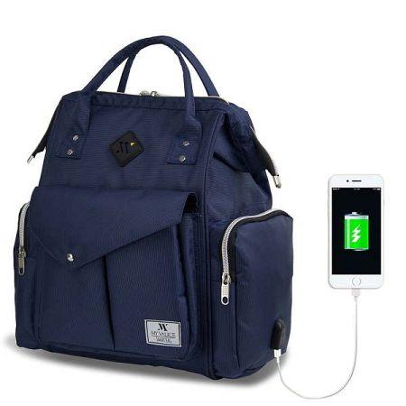 Tmavě modrý batoh pro maminky s USB portem My Valice HAPPY MOM Baby Care Backpack