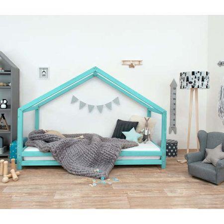 Tyrkysová dětská postel z lakovaného smrkového dřeva Benlemi Sidy, 90 x 180 cm