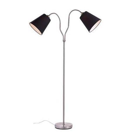 Volně stojící lampa ve stříbrné barvě s černými stínidly Markslöjd Modena