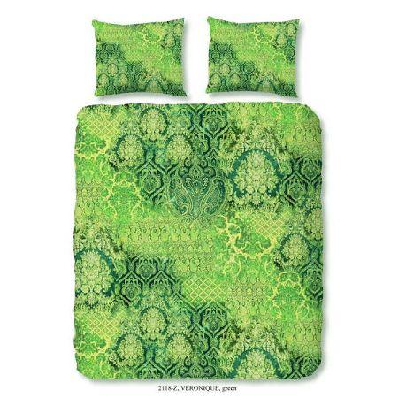 Zelené povlečení z bavlněného saténu na dvoulůžko zouzou Laguna, 200x200 cm