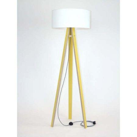 Žlutá stojací lampa s bílým stínítkem a černo-bílým kabelem Ragaba Wanda
