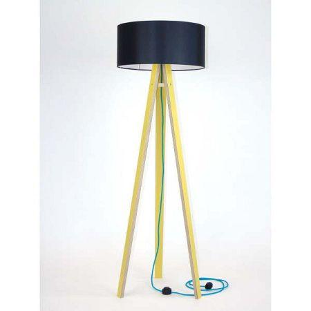 Žlutá stojací lampa s černým stínítkem a tyrkysovým kabelem Ragaba Wanda